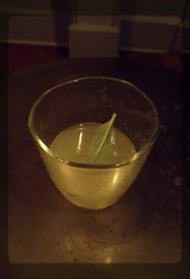 77 Kelvin: shattered herbs (frozen with nitro or dry ice), Leatherbee gin, lime.