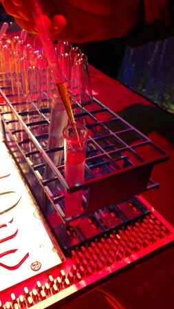 Pop Art martinis in test tubes at the Science of the Cocktail, an Exploratorium fundraiser, 2017.
